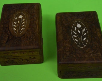Two Vintage Himalayan Jungle Sheesham Wood Hand Carved Boxes~Primative Art