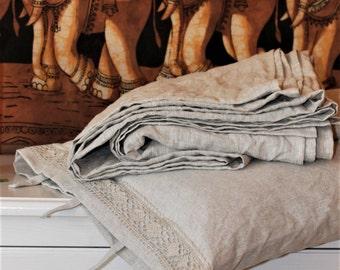 Linen flat sheet, Light grey, Natural color, Linen bedding, Flax bedding, Easter gift