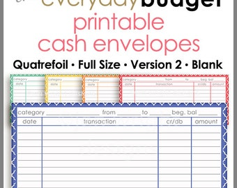 Quatrefoil Printable Cash Envelope Ver.2, Budgeting System, Money Budget Envelopes, Cash Organizer - Set of 5, Instant Download - PB1508