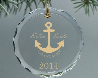 Engagement Gift - Nautical Anchor Couple's Monogrammed Circle Custom Christmas Ornament - Gold Text and Design