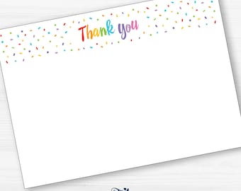 Confetti Thank you note, Rainbow Thankyou card, Thank You Template Notecard, Kids Party Thank You Note card, INSTANT DOWNLOAD