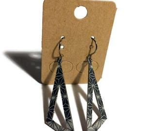 Star Asanoha Pattern Angled Earrings