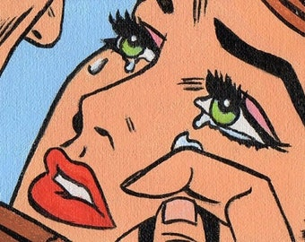 ACEO Original  Miniature  Painting Pop Art Comic Girl Crying Artist Trading Card
