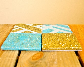 Gold & Blue Glitter Coasters