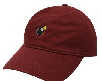 Capsule Design Bomb Embroidery Cotton Baseball Dad Cap Burgundy