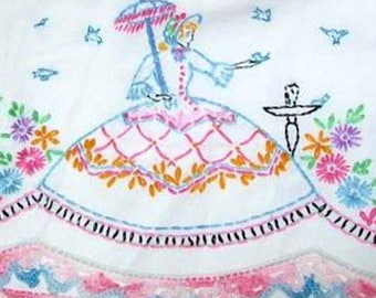 Southern Belle - Crinoline Lady pillowcase crochet & embroidery pattern LW1001