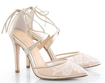Gold Alencon lace wedding shoes heels with ankle straps. classic lace wedding heels Bella Belle Anita Gold
