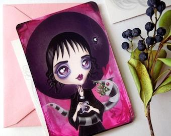 Lydia Deetz carte postale, étrange et inhabituelle, édition limitée, Postcrossing, courrier, Swap