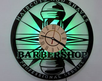 Barbershop lamp, Barbershop vinyl record wall clock, Barbershop green led night light, Barbershop gifts ideas, Barbershop led lighting