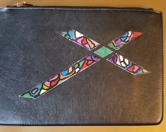 Handpainted Zip clutch