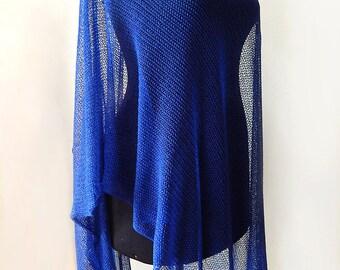 Knitted cotton blue scarf, deep blue scarf, ultramarine scarf, lace cotton scarf, knitted blue cotton wrap, women's summer scarf, blue wrap