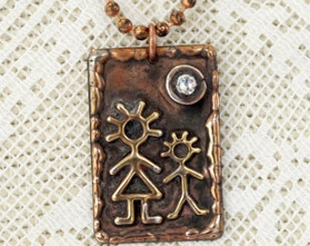Whimsical Mother Son Pendant Necklace -  Soldered art Jewelry  - Adjustable Chain - Rhinestone accent