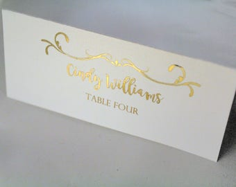 Gold Foil Wedding Table Place Tags for guests Wedding Name tags wedding place cards Custom
