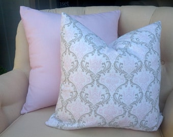 Pink and taupe   pattern 18' pillow cushion cover in damask