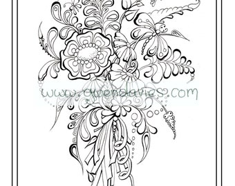 Wedding favour, bespoke personalised colouring activity henna flowers. holiday art therapy table