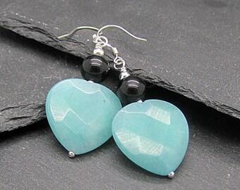 Blue Quartz Heart Earrings, Gemstone Heart Drop Earrings, Blue Stone Jewellery, Heart Dangles, Gift for Mother, Anniversary, Birthdays