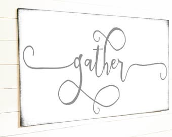 Gather Sign Gift for Her Wall Art Rustic Home Decor Shiplap Sign Canvas Farmhouse Decor Sign Modern Farmhouse Wall Decor Large Gather Sign