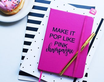 Vegan leather journal lined bullet journal notebook, pink champagne journal notebook, vegan leather journal diary, blank journal for women