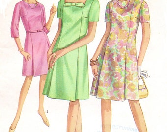 60s Womens Modified A Line Dress With Two Necklines Princess Seam Dress Simplicity Sewing Pattern 7030 Size 16 Bust 36
