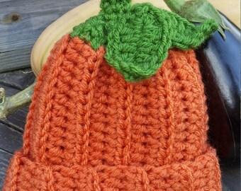 Pumpkin Hat, Crochet Pumpkin Beanie Hat. Choose your size.