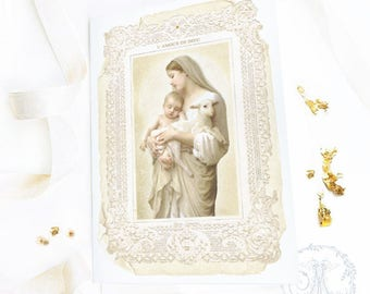 Madonna and child, French religious card, Easter card, Christmas card, Jesus birth, Baptism card, blank inside