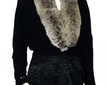 Vintage 1950's Black Cashmere Sweater with Silver Fur Collar
