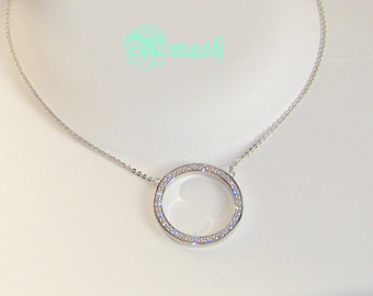 Sterling Silver Circle Necklace,Eternity,Layering Necklace,Simulated diamond,Geometric Dainty Necklace, Delicate ,Circle Of Life Necklace.