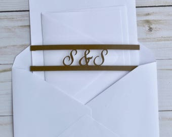 Monogram Wedding Invitation Belly Band / Monogram Wedding Invitation Enclosure - Monogram Belly Band, Personalized Belly Band, Monogrammed