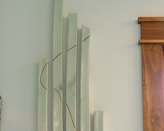 Wall Hanging of Celadon Green Glazed Square Tubes