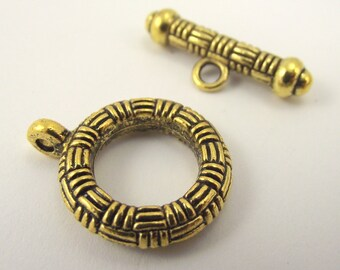 Golden Basket Weave Pewter Toggle Clasp, Gold Clasp, Large Toggle Clasp