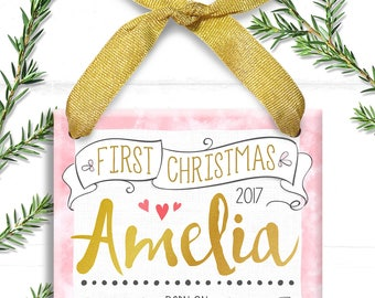 Pink and Gold, Personalized Baby's First Christmas Ornament, Baby 1st Christmas Ornament, Baby Girl, Trim the Tree,