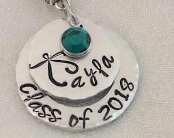 Class of 2018 Necklace - Personalized - Hand Stamped - Graduation Jewelry - Layered Graduation Necklace - Graduation Year Necklace - Name