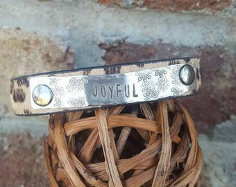 """Animal Print Cuff  with the word """"JOYFUL"""" on hammered SIlver Metal-Quote"""