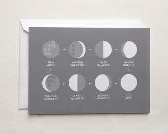 "moon phases card - astronomy stationery - (5.82"" x 4.13"")"