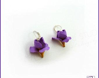 Dangle Earrings Iris Polymer Clay Sterling Silver Purple Flower Earrrings Handmade. Romantic Gift for her. Ready to ship.