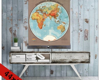 Wall hanging school map etsy quick view world map gumiabroncs Images