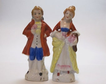 Vintage 1950s or 1960s Pair of Porcelain Miniature Colonial Edwardian Victorian Couple Gentleman and Lady Figurines Made in Japan