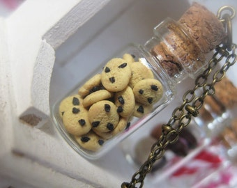 Butter Cookies with Chocolate Chips in a Jar Necklace _ 1/12 Dollhouse Scale Miniature Food _ Polymer Clay _ Foodie Gift