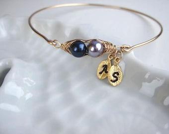 Bangles, Pea pod bangle, hammered or smooth, 14k gold filled bangles bracelet, personalized peapod bangles