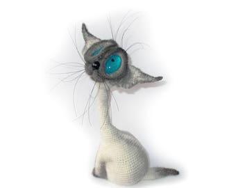 Crochet Siam Cat - Crochet Siamese Cat - Handmade Amigurumi Cat Toy - Interior Cat - 25 cm - 10 Inches - Turquoise eyes