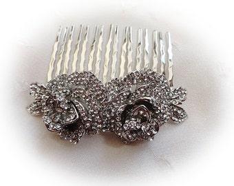 Beautiful vintage small double rose bridal hair comb silver rhodium bridesmaid