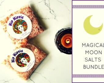 Bath Salts + Bath Soak: Full Moon + New Moon + Energy Clearing + Cleansing   Wax On - Wax Off Magical Moon Salts Bundle