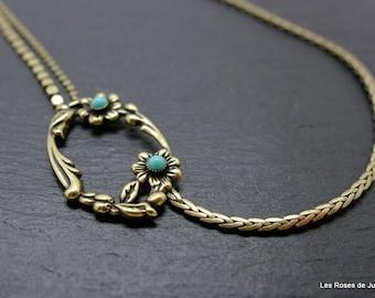 art deco Romance, necklace, bronze necklace