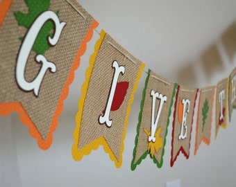 Give Thanks Burlap Banner for Fall Thanksgiving Decor Photo Shoot Prop