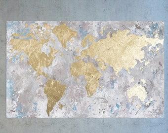 World map painting gold leaf art gold leaf painting large world map world map canvas oversized wall art gold leaf painting gumiabroncs Choice Image