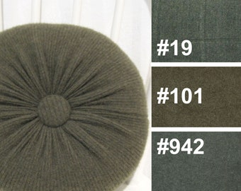 Evergreen Cashmere Round Throw Pillow / Dark Green Accent Decorative Couch Cushion / Felted Cashmere Wool Pillow