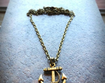 Anchor Charm Necklace - Nautical Jewelry, Bronze antiqued pendant