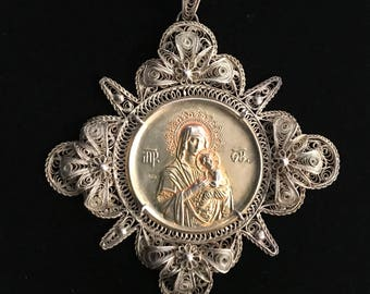 Large Silver Religious Pendant