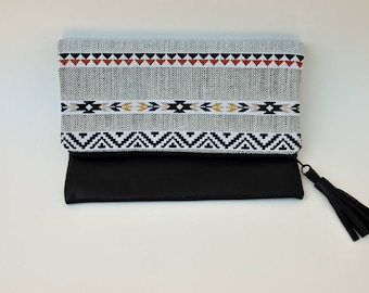 Folded pouch with leather black Inca