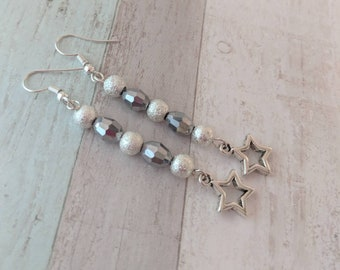 Cute earrings, silver jewelry, cute jewelry, glittery earrings, glittery jewelry, star earrings, star jewelry, girl earrings, girl jewelry